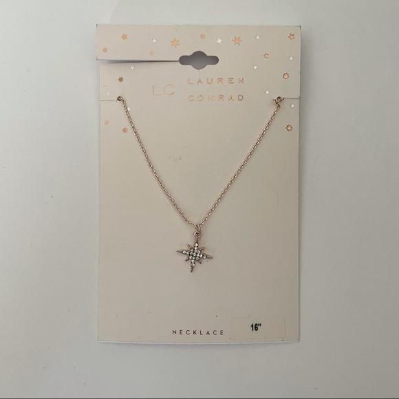 """LC Lauren Conrad Rosegold Starburst Necklace 16"""""""